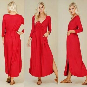 Dresses & Skirts - 🌟V-Neck Side Slit Maxi Dress🌟